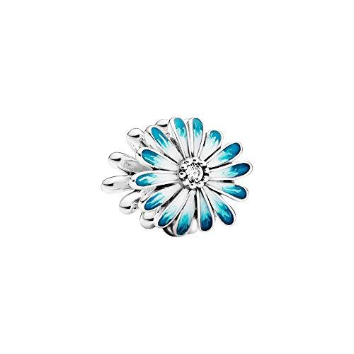 Ciondolo Daisy in argento sterling con zirconi cubici trasparenti e blu shaded