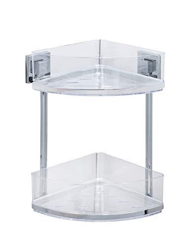 WENKO Vacuum-Loc Badezimmer Eckregal Quadro Duo, ohne bohren, mit 2 Etagen, rostfreie Edelstahl Halterung mit herausnehmbarer Kunststoffschale, pflegeleichte Duschablage, 28 x 32.5 x 19.5 cm