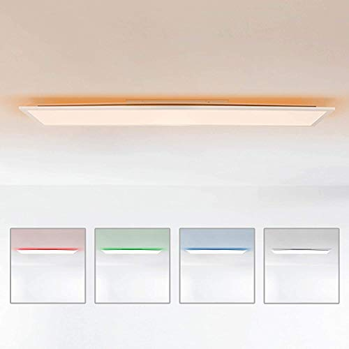 Lightbox LED Panel Deckenleuchte, 120x30cm, 36 Watt, mit RGB Hintergrundbeleuchtung, 2700-6500 Kelvin, Metall/Kunststoff, Weiß