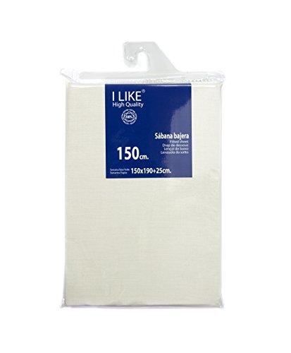 I LIKE Sabana Bajera Ajustable Crema 100% ALGODÓN Cama 150 (150 X 190 + 25 cm)