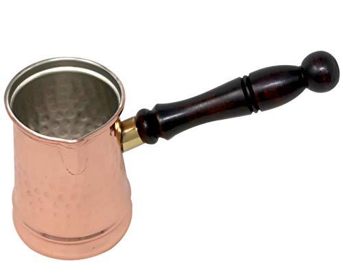 Mug Cuivre Martelé et Long Manche en Bois pour Chauffer l'Eau Café Café Tea Capacité 500 ml