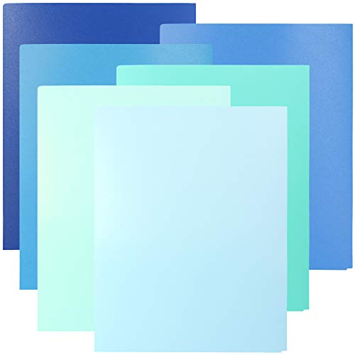 Youngever 6 Pack Heavy Duty Plastic Two Pocket Folders, Heavy Duty Plastic 2 Pocket Folder, Coastal Colors