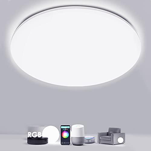 Lámpara De Techo Led RGB Regulable, Besvic 24W Plafon Led Techo WiFi Compatible con Alexa Google Home Luz Techo Moderno 35cm