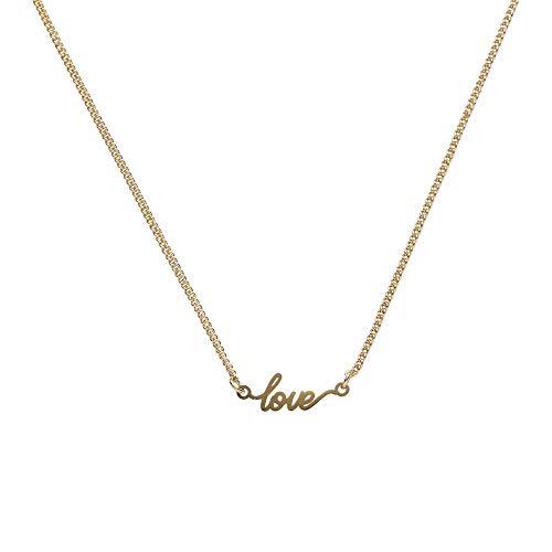 Draeger Paris – Collar de fantasía de metal dorado, texto Love – sin níquel – 45 cm – Ideal para regalo personalizado y diseño