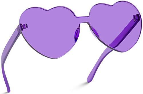 WearMe Pro - Heart Shaped Full Lens Transparent Colored Sunglasses (Purple Frame, 65)