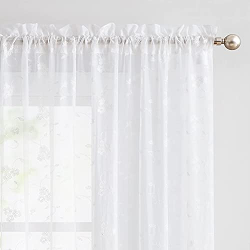 Sheer Curtains for Living Room Floral Embroidery 84 inch Long Rustic White Voile Window Curtain Drpaes for Bedroom Rod Pocket 2 Panels