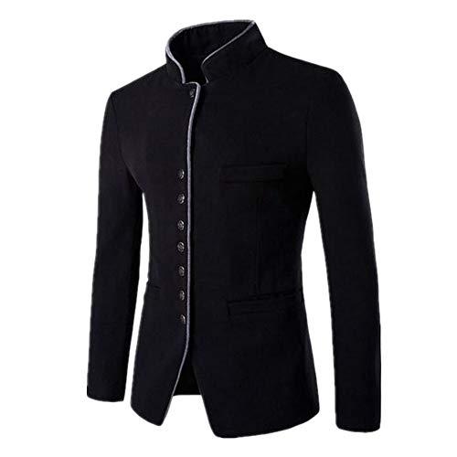 Men's Vintage Blazer Chinese Style Long Sleeve Business Casual Stand Collar Windbreaker Blazer Slim Fit Blazer Jacket XXL