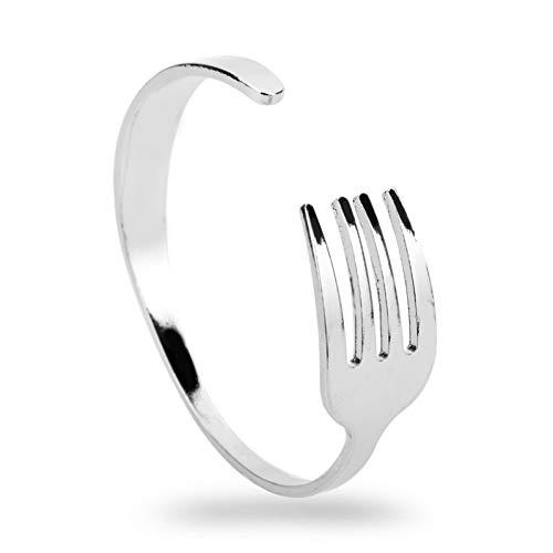 HUSHOUZHUO Creatief Ontwerp Mode Mes Vork Manchet Bangle Zilver Open Armbanden & Bangles Voor Mannen Vrouwen Hip Hop Sieraden Verstelbaar