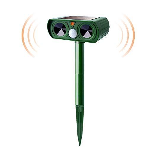 Ultrasonic Solar Animal Repeller, Dog Cat Repeller with Motion Sensor and Flashing Lights Outdoor Solar Powered Waterproof for Farm Garden Yard Repeller, Cats, Dogs, Birds