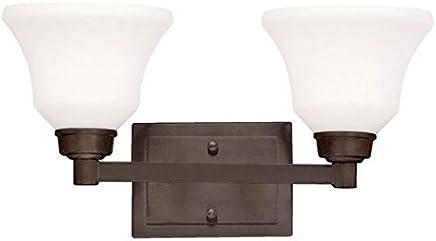 Kichler Lighting 5389OZL18 Langford - 17.5インチ 20W 2 LED バスバニティ、オールドブロンズ仕上げサテンエッチングホワイトガラス