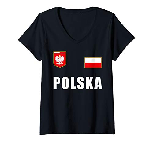 Damen Polen Polska Polnisches Fußball Fan Outfit Trikot T-Shirt mit V-Ausschnitt