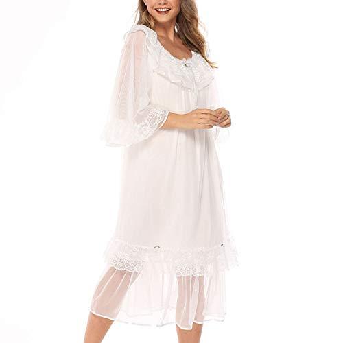 DISCOUNTL Morgenmäntel für Frauen Netzgarn Langarm Nachtkleid Prinzessin Palast Stil Pyjama Damen Plus Size Lose Spitze Home Service Gr. X-Large, weiß