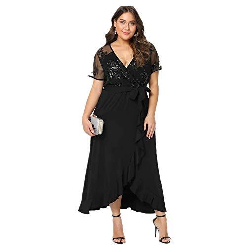 Lover-Beauty Vestido Largo Mujer Talla Grande Moda Bolsillo Top Falda para Fiesta Verano Manga Larga Floral Estampada