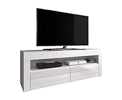 TV Unit Cabinet TV Stand Entertainment Lowboard Luna 140 cm, Body White Mat/Fronts White High Gloss (Without LED)