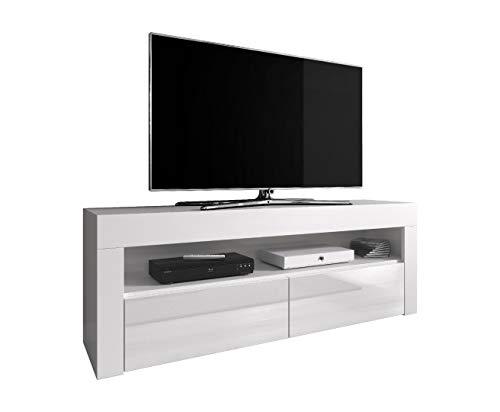 E-Com Mobile TV per intrattenimento Lowboard Luna, 140 cm, Corpo Bianco Opaco Frontali Bianco Lucido (Senza LED)