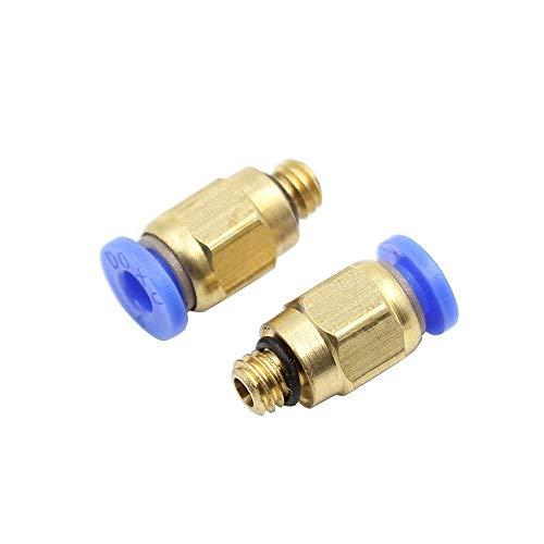 JRUIAN Accesorios de Piezas de Impresora 3D, 50 Piezas/Lote PC4-M6 Conector de Ajuste Recto neumático Compatible con Tubos de 4 mm OD M6 Impresoras de Impresora 3D Reprap de 6 mm (Color : Default)