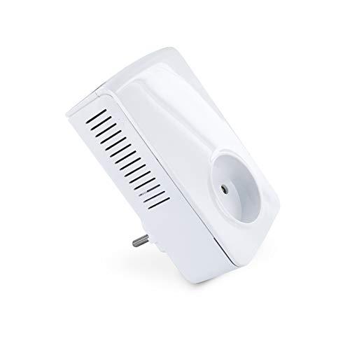 Metronic 595463 - Adaptador de comunicación por red eléctrica, adaptador PLC hasta 1800 Mbps, internet por red eléctica, 1 puerto RJ45, enchufe adicional, blanco