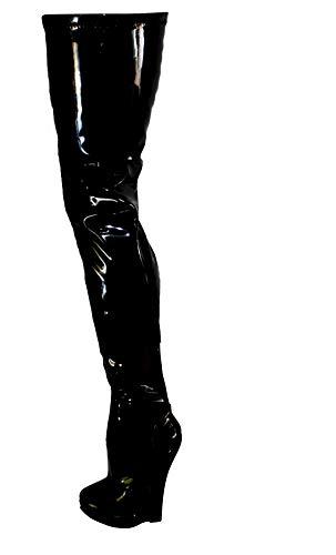 Erogance Crotch Wedge Plateau High Heels Overkneestiefel Schwarz Lack Stiefeletten Boots A5072 / EU 46