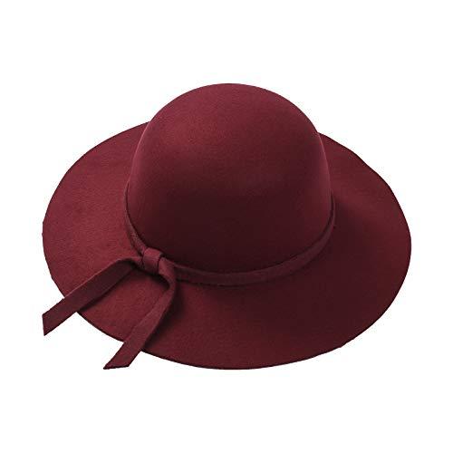 MAHUAOYIXI Sombrero de ala ancha de sol para niña, sombrero elegante, para verano, playa Rojo/Vino Talla única