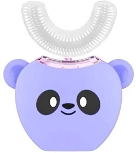 Elektrische tandenborstel for kinderen Ultrasonic, type tandenborstel U Intelligent 360 ° met vier reiniging modes twee leeftijdsgroepen, opladen via USB, Lpink, Kleur: Lwhite (Color : Spurple)