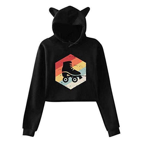 XCNGG Frauen Teen Mädchen niedlichen Katzenohr Pullover Hoodie Pullover Retro 70er Jahre Rollschuh Langarm Crop Top Sweatshirts Hoody
