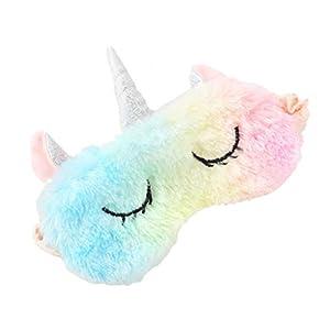 Bonito antifaz de peluche para dormir, con forma de unicornio, con orejas, para la noche, la siesta o viajes, para mujeres y niñas