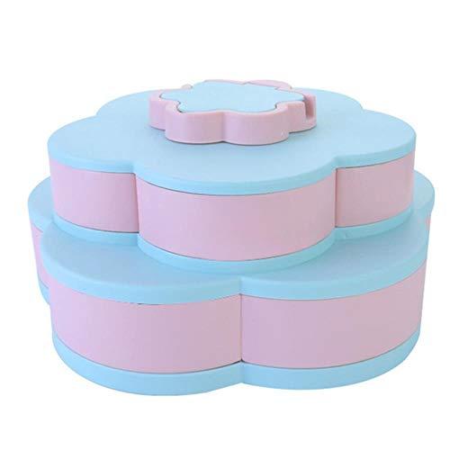 Heng creatieve dubbellaags bloemblaadje bonbondoos notenkist snack opbergdoos container woonkamer roterende fruitschaal desktop organizer, blauw roze plaat