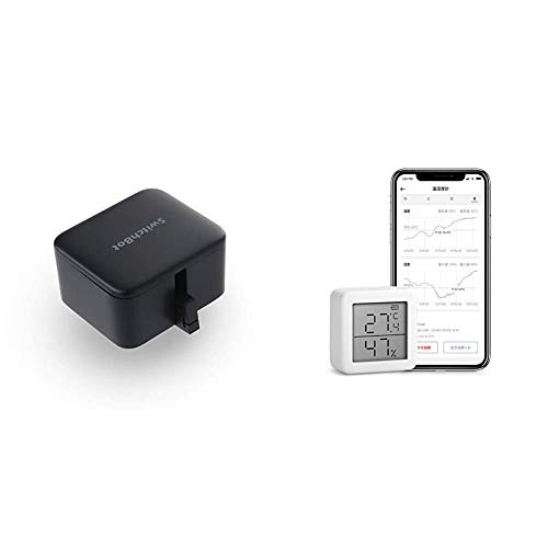 SwitchBot Bot Switch Button Finger Robot Smart Home Wireless Timer Remote Control with Smart Smartphone Compatible with Alexa, Google Home, HomePod, IFTTT & Temperature Hygrometer, Digital, Smart Appliance, High Precision, Swiss Sensor, Temperature and Humidity Management with Smartphones, Alarm Included, Graph Recording, Compatible with Alexa, Google Home, HomePod, IFTTT
