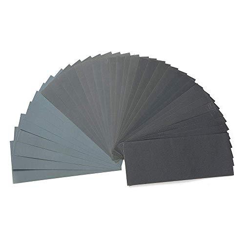 LIANGANAN 36pcs pulido abrasivo hojas de papel de lija resistente al agua Set 120-3000 Grit húmedo y el Dr. Papel de lija de esmerilado y pulido