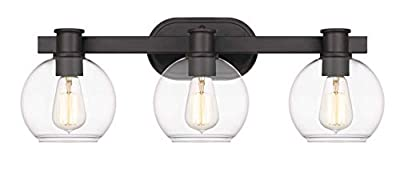 Tawson Dan Modern Farmhouse 3-Light Vanity Light Industrial Wall Sconce Lighting with Clear Glass Globe Shade for Bedroom, Hallway, Kitchen, Mirror, Laundry Room