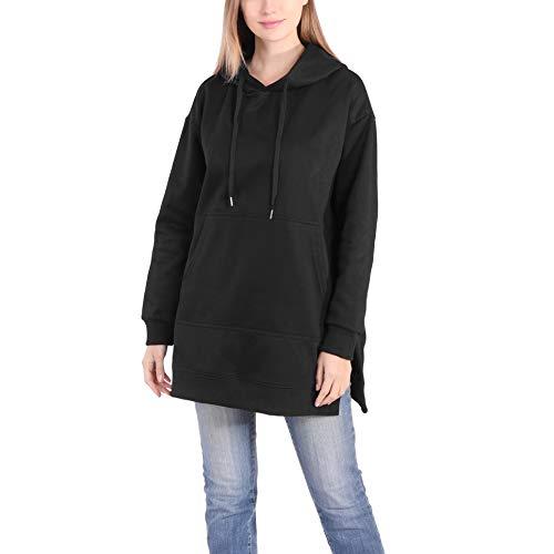 Largas Sudaderas con Capucha Mujer Casual Blanco Negro Anchas Forro Polar Jersey Hoodie Ropa Talla Grande Oversize (Negro, Large)