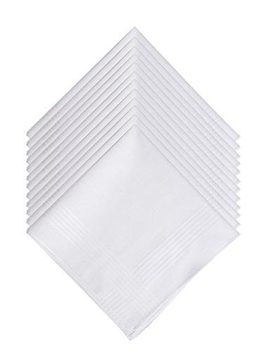 LULUSILK 20 Weiße Herren Taschentücher Stofftaschentücher 100% Baumwolle, 40 cm x 40 cm