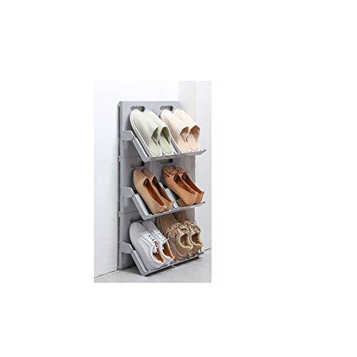 Almacenamiento de zapatos Zapato plegable estante doméstico zapato simple bastidor de almacenamiento de bastidor de estante de pared perforada sin perforación perchero Zapatero ( Color : Gray )