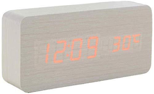 ZJZ Digitale wekker van hout, 3 instelbare helderheid, niet tikkend, led-temperatuurweergave, werkt op USB/batterijen, voor thuiskantoor van stroom