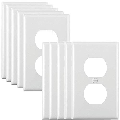 Duplex Wall Plates Kit, Receptacle Outlet Covers, 10-Packs Electrical Outlet Plates, PC Material - Heat Resist - Durable, White Outlet Wall Plates, Standard Size Light Switch Covers