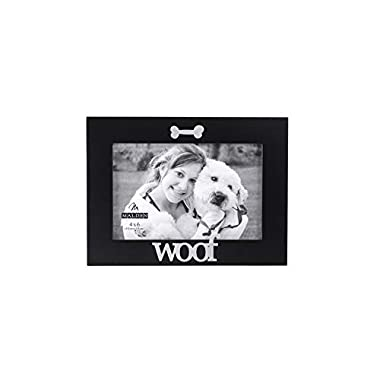 Malden International Designs Black Wood Expression Picture Frame, Woof, 4x6, Black