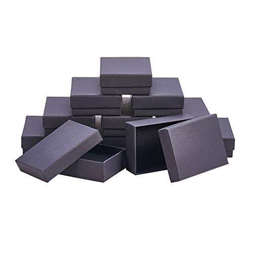 NBEADS 60PCS Scatole Portagioie Nere, Scatola Rettangolare per Gioielli Artigianato Fai-da-Te per Orecchini Collana Set Anello Braccialetto, Confezione da 9x6,5x2,8 cm