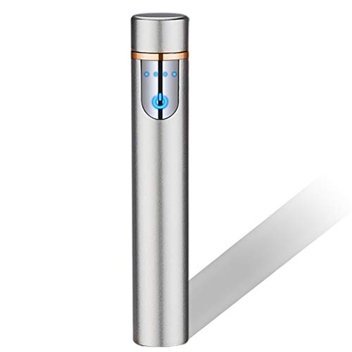 Encendedor Electrónico con Huella Digital Táctil Encendedor Carga USB Sin Llama A Prueba Viento Mini Encendedor Cigarrillos Portátil con Indicador Batería para Cigarrillos Al Aire Libre,F