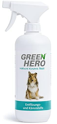 Green Hero Entfilzungs und Kämmhilfe für Hunde und Katzen Entfilzungsspray Entwirrungsspray Fellpflege Kämmhilfe die Entwirrt 500ml
