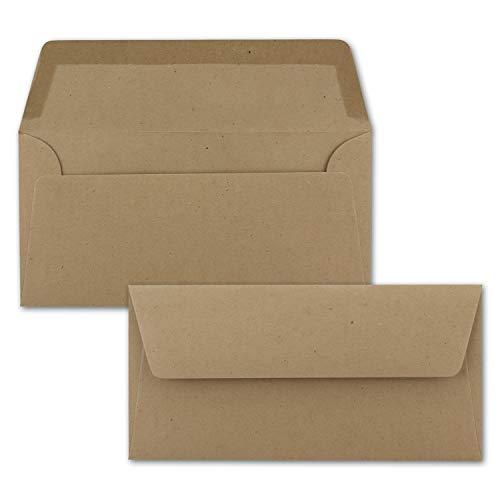 50x Kraftpapier Umschläge DIN Lang - Braun ÖKO - Nassklebung 11 x 22 cm - 120 g/m² breite Verschluss-Lasche - Recycling Papier - von NEUSER PAPIER