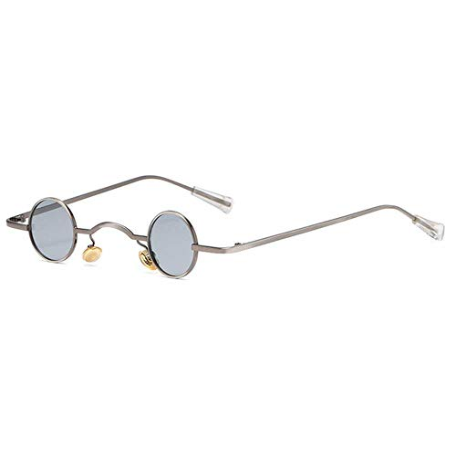 Nobrand Gafas de sol polarizadas Steam Punk redondas pequeñas Marco de aleación vintage Gafas de espejo circular Gafas de luz de calle de moda