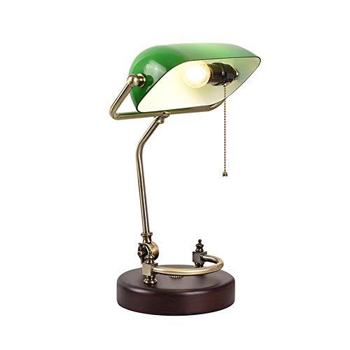 Cxwcy Lámpara estándar American Creative Retro Lámpara de mesa Dormitorio Luces de lectura de cabecera Personalidad Luz de escritorio Empresa Horas extra Lámpara de escritorio de lectura de madera mac