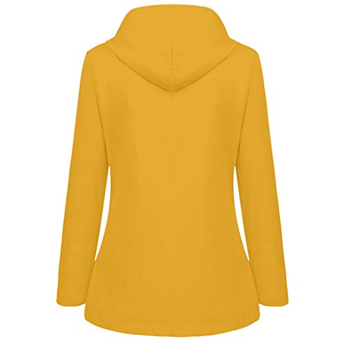 Briskorry Chubasquero con capucha para mujer, resistente al agua, parka de lluvia, cortavientos, chaqueta para exteriores, chaqueta deportiva cortavientos, amarillo, XL