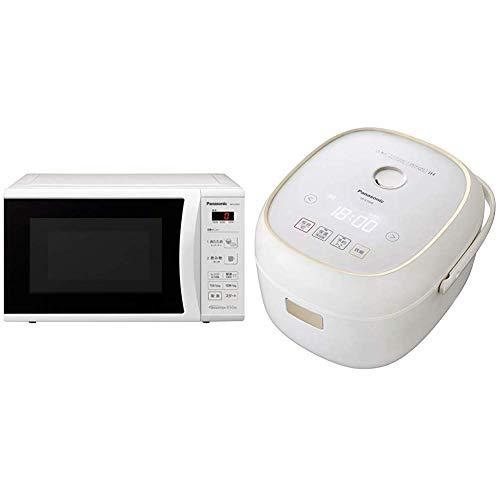 【セット買い】パナソニック 単機能電子レンジ 22L ヘルツフリー ターンテーブル ホワイト NE-E22A2-W & パナソニック 炊飯器 3.5合 ひとり暮らし IH式 ホワイト SR-KT068-W