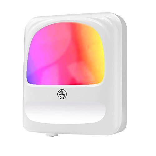 LED Nachtlicht Steckdose, onehous [Zweite Generation] 8 Farbe RGB Nachtlicht Baby mit Dämmerungssensor, Helligkeit Stufenlos Einstellbar für Nachttischlampe,Kinderzimmer, Treppenaufgang, Schlafzimmer