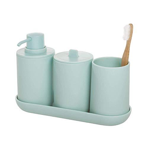 iDesign Set, juego de 4 compuesto por dispensador de jabón, porta cepillo de dientes, algodonero y bandeja de plástico, accesorios de baño para el lavabo, azul claro, 24,5 cm x 8,9 cm x 16,2 cm