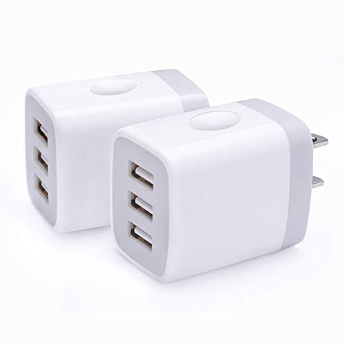 Charger Brick, 2Pack Multi 3-Port Travel Wall Charger 3.1A USB Plug Power Adapter Charging Cube Box Base Compatible with iPhone 12 Pro Max/11 Pro Max/X 8 7 6 Plus,Samsung Galaxy Note 20/10+/9 S20 S21