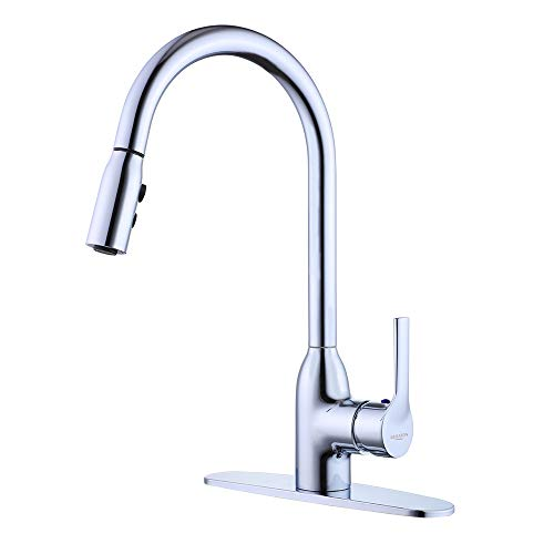 Touch On Kitchen Sink Faucets Stainless Steel Single Handle Kitchen Sink Faucet Hot and Cold Single Lever Faucets High Arc 1 handle Easy Installation Brushed Nickel (Chrome)