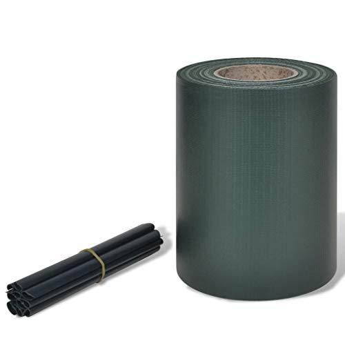 Festnight- Recinto Privacy Frangivento PVC Intrecciato Verde a Rullo/Striscia Protettiva in PVC 70 x 0,19 m