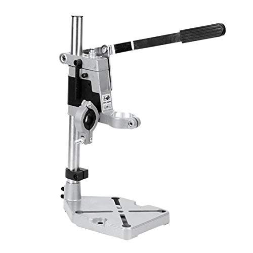 Aluminum Alloy Bench Drill Stand Electric Drill Base Frame Drill Holding Holder Bracket Drilling Guide For Woodworking - Silver